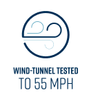 Wind Tunnel Tested to 55 MPH